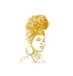 Portrait african woman in golden watercolor turban vector