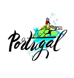 portugal travel destination logo vector image