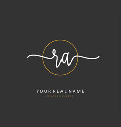 R a ra initial letter handwriting and signature vector