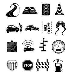 Road traffic icons set vector image