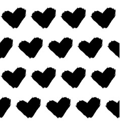 seamless doodle pattern grunge hearts vector image