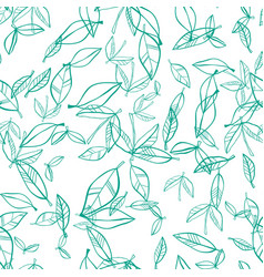 seamless pattern of leaves natural background vector image