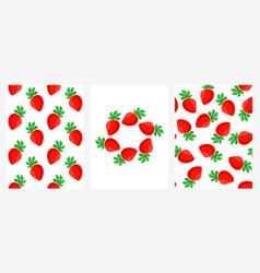 seamless patterns with ripe strawberries set vector image
