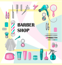 set of barber shop badges vector image