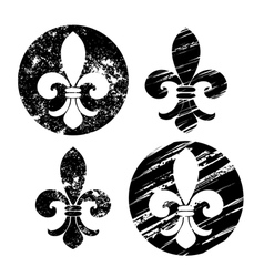 Set of Painted Fleur De Lis vector image