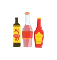 Set Of Three Industrial Sauces In Plastic Bottles vector image