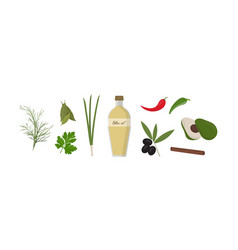 set various spices and vegetables olive oil vector image