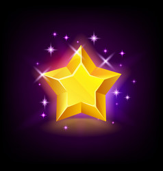 shining yellow star with sparkles slot icon vector image