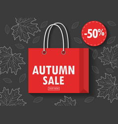 shopping bag with autumn sale vector image