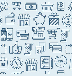 shopping seamless pattern with thin line icons vector image
