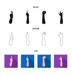 sign language blackflatoutline icons in set vector image