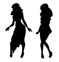 silhouette two women isolated on white vector image