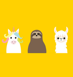 Sloth alpaca llamaunicorn set cute cartoon funny vector