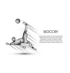 Soccer player striker hits the ball vector