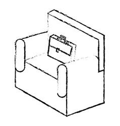 Sofa with portfolio isometric isolated icon vector