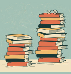 stack books on table retro background vector image