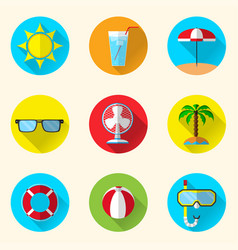 summer flat icons vector image