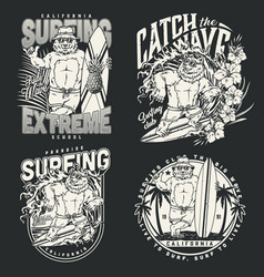 summer surfing vintage monochrome emblems vector image