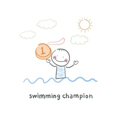 Swimming champion vector