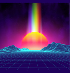 Synth wave retro city landscape background sunset vector