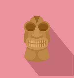 tiki idol hawaii icon flat style vector image
