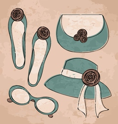 vintage fashion set vector image vector image