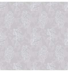 Vintage seamless floral pattern grey vector