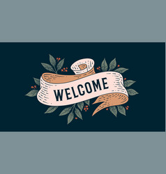 Welcome retro greeting card vector