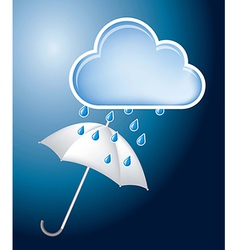 White umbrella with cloud and drop illustration vector