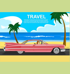 woman driving a retro car along the sea coast vector image