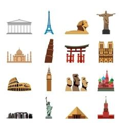World landmarks flat icons vector