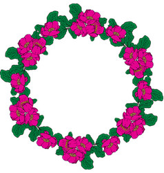 Wreath of pink peonies and green leaves vector