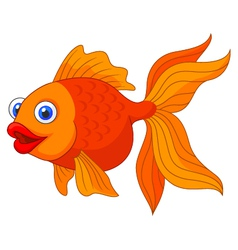 Cute golden fish cartoon vector image