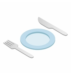 Cutlery set with plate isometric 3d icon vector image vector image