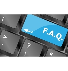 keyboard with faq button - business concept vector image vector image
