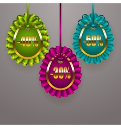 Set of Easter eggs with ribbons vector image vector image