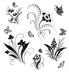 set with butterflies and flower patterns vector image