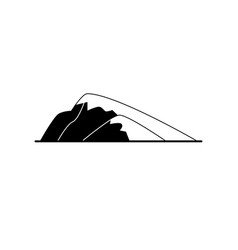 sloping hill silhouette icon in flat style vector image vector image