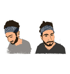 young handsome bearded guy hipster in bandana vector image