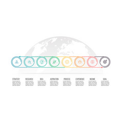 business process timeline with 8 options circles vector image