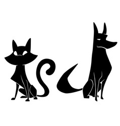cat and dog silhouettes vector image vector image
