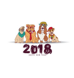 Doodles happy new year card 2018 dogs isolate vector
