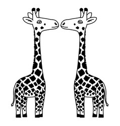giraffe in a cartoon style is insulated on white vector image