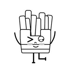 Line kawaii cute funny fries french food vector