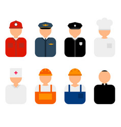 professions flat characters vector image vector image