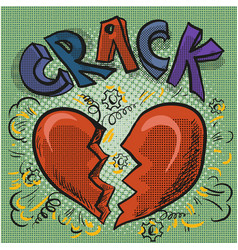 the image of the heart broken crack comic sound vector image