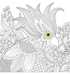 Exotic zentangle cockatoo parrot for adult anti vector