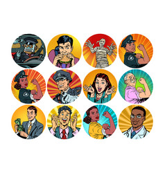 set pop art round icons characters avatar vector image