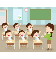 Students hand up in Classroom vector image vector image
