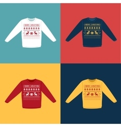 Ugly Christmas sweaters or jumpers with pixel vector image vector image